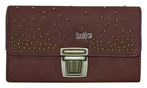 Liebeskind LIEBESKIND KYLIE WALLET DARK RED BROWN WITH BRASS TONE HARDWARE