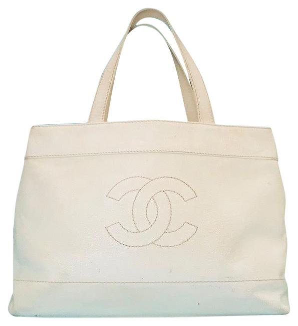 Chanel Shopping Vintage Caviar Cc Wild Stitch Jumbo Carry On Tote Off White Leather Weekend/Travel Bag Chanel Shopping Vintage Caviar Cc Wild Stitch Jumbo Carry On Tote Off White Leather Weekend/Travel Bag Image 1