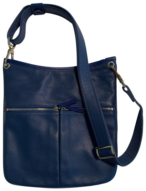 Longchamp With Zippers Blue Leather Cross Body Bag Longchamp With Zippers Blue Leather Cross Body Bag Image 1