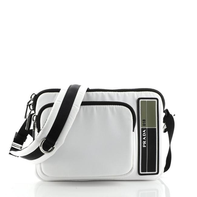 Prada Logo Patch Zip Tessuto Medium White Nylon Messenger Bag Prada Logo Patch Zip Tessuto Medium White Nylon Messenger Bag Image 1