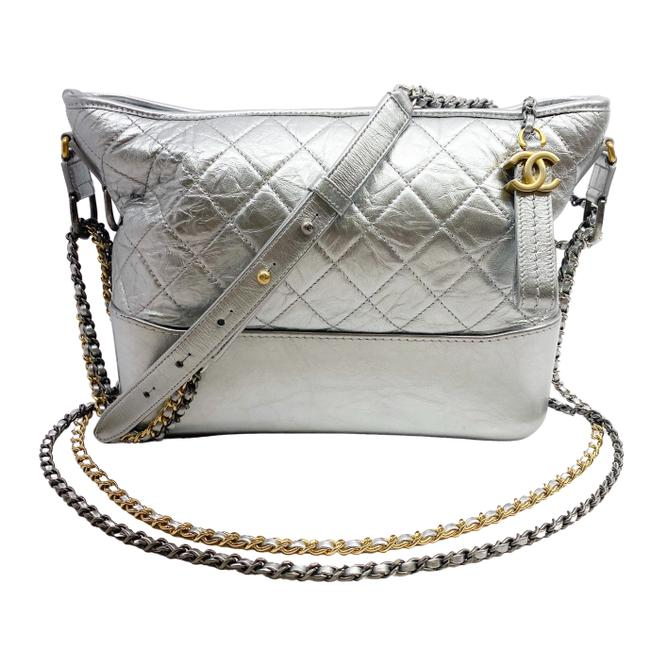 Chanel Gabrielle Silver Leather Hobo Bag Chanel Gabrielle Silver Leather Hobo Bag Image 1