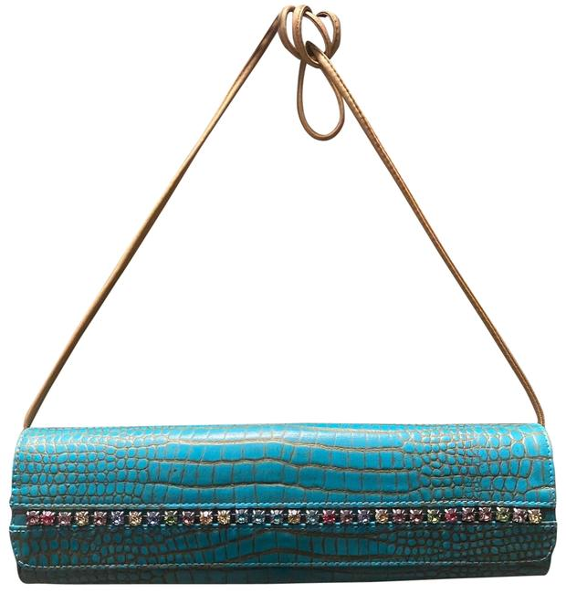Carlos Falchi Genuine Jeweled Purse Blue Leather Clutch Carlos Falchi Genuine Jeweled Purse Blue Leather Clutch Image 1