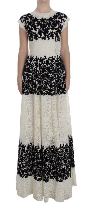 Item - Black and White Floral Lace Ricamo Ball G Long Casual Maxi Dress Size 0 (XS)