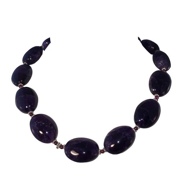 Item - Purple Amethyst Deep Bead with Sterling Bead Accents Necklace