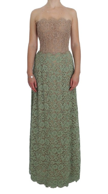 Item - Pink and Green Floral Lace Corset G Long Casual Maxi Dress Size 4 (S)