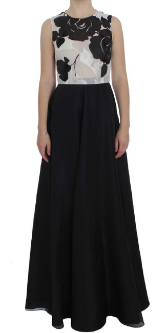 Item - Black and White Silk Sheath Gown G Long Formal Dress Size 4 (S)