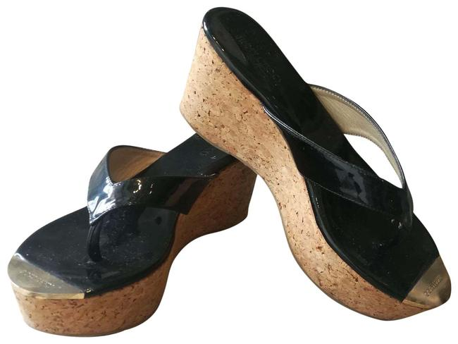 Item - Black Cork Patent Leather Sandals Wedges Size EU 40 (Approx. US 10) Regular (M, B)