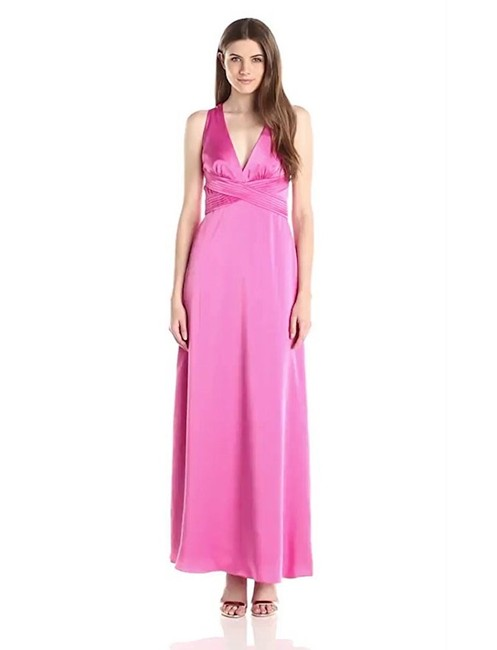 Item - Pink Criss Cross Back Satin Gown Long Formal Dress Size 6 (S)