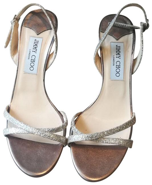 Item - Gold Silver Pewter Metallic Strappy Sandals Formal Shoes Size EU 38.5 (Approx. US 8.5) Regular (M, B)