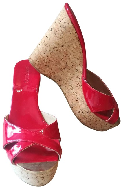 Item - Cork Red Patent Leather Wedges Size EU 40 (Approx. US 10) Regular (M, B)