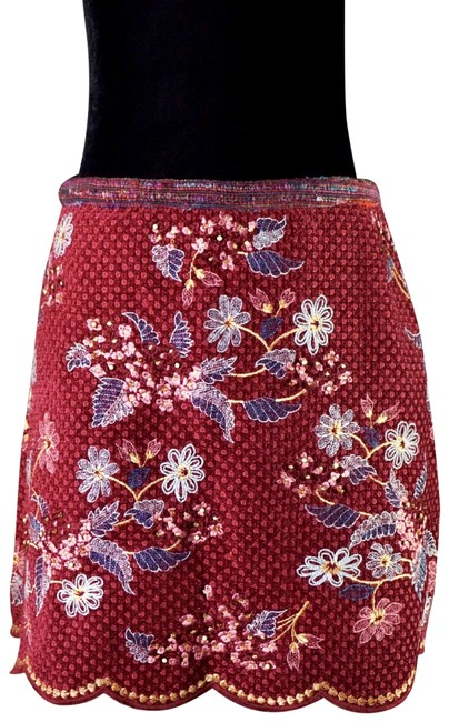 Item - Wine Catie Textured Embroidered New Skirt Size 8 (M, 29, 30)