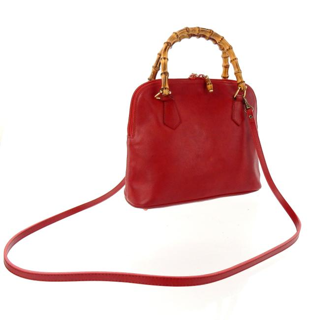 Item - Double Bamboo Tote Red Lambskin Leather Cross Body Bag