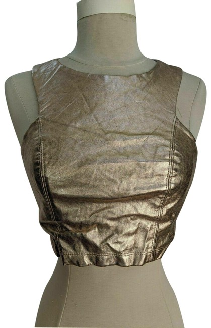 Item - Rose Metallic Gold Faux Leather Crop S Blouse Size 4 (S)