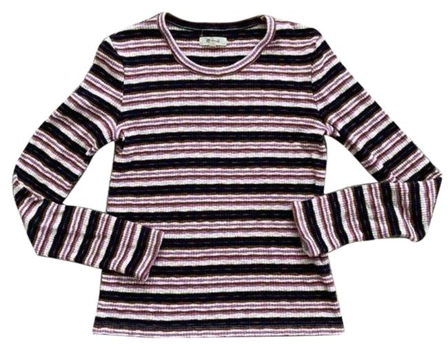 Madewell Ribbed Striped Long Sleeve Black Pink Sweater Madewell Ribbed Striped Long Sleeve Black Pink Sweater Image 1