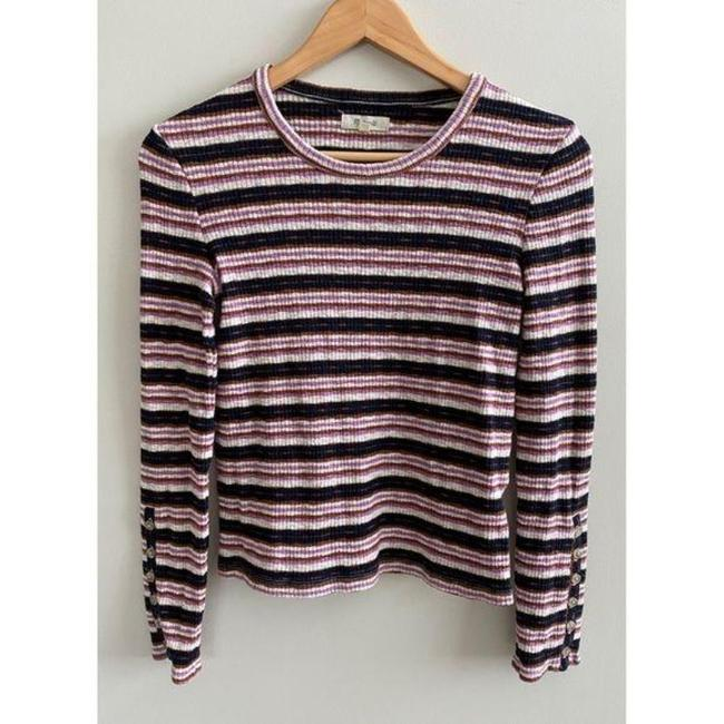 Madewell Ribbed Striped Long Sleeve Black Pink Sweater Madewell Ribbed Striped Long Sleeve Black Pink Sweater Image 2