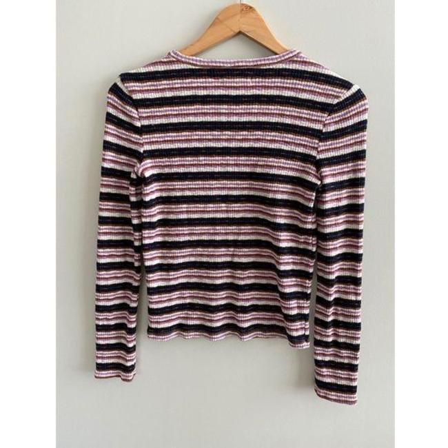 Madewell Ribbed Striped Long Sleeve Black Pink Sweater Madewell Ribbed Striped Long Sleeve Black Pink Sweater Image 3