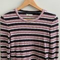 Madewell Ribbed Striped Long Sleeve Black Pink Sweater Madewell Ribbed Striped Long Sleeve Black Pink Sweater Image 4
