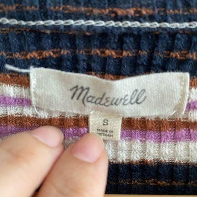 Madewell Ribbed Striped Long Sleeve Black Pink Sweater Madewell Ribbed Striped Long Sleeve Black Pink Sweater Image 5