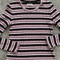 Madewell Ribbed Striped Long Sleeve Black Pink Sweater Madewell Ribbed Striped Long Sleeve Black Pink Sweater Image 7