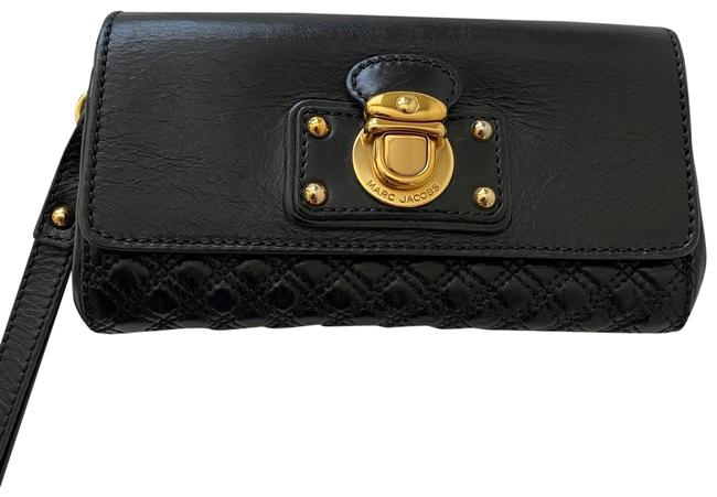 Item - Wristlet Pouch Black with Gold Hardware Leather Clutch