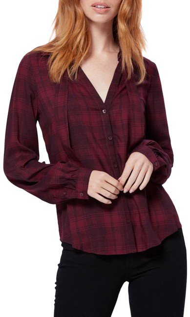 Item - Burgundy Black Red Womens Enid Check Shirt Gingham Button-down Top Size 4 (S)