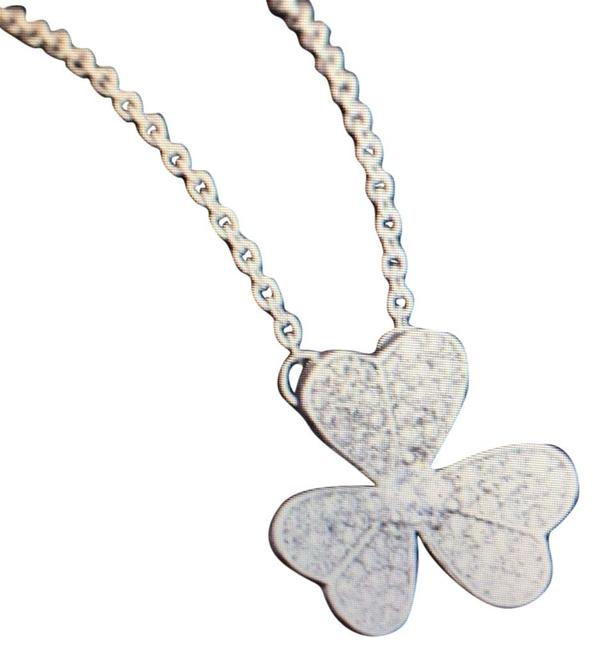 Item - Silver 18k White Gold Pave Clover Necklace