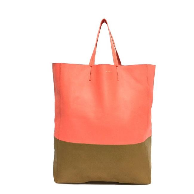 Item - Bag Bicolor Horizontal Hippo Women's Beige / Pink Leather Tote