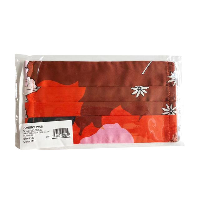 Item - Red Cotton Sateen Mask with Interior Pocket Scarf/Wrap