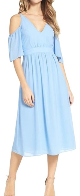 Item - Light Blue Cold Shoulder Midi Small Mid-length Short Casual Dress Size 6 (S)