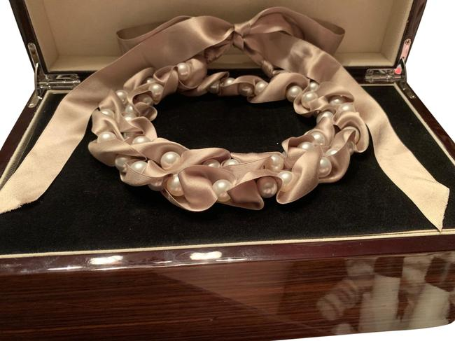 Item - Taupe Silk Ribbon Pearl Strand Necklace