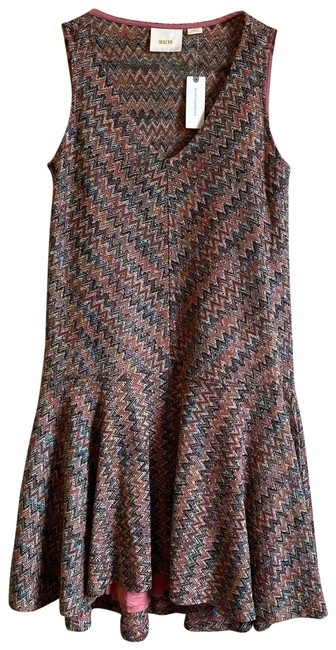 Item - Brown Westwater Knit Chevron Mid-length Short Casual Dress Size 6 (S)