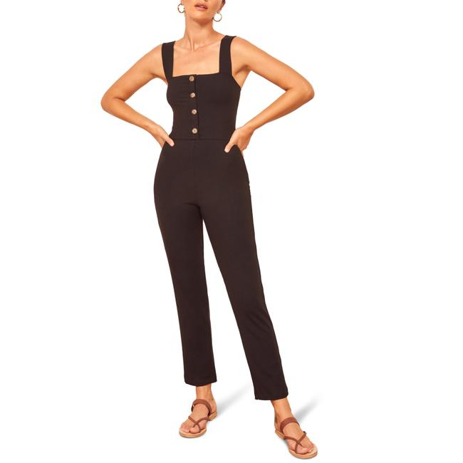Item - Black Landry Front Button Sleeveless Cropped Romper/Jumpsuit