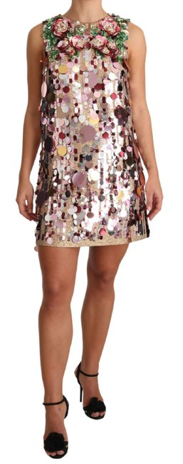 Item - Pink Floral Sequined Shift Short Casual Dress Size 4 (S)