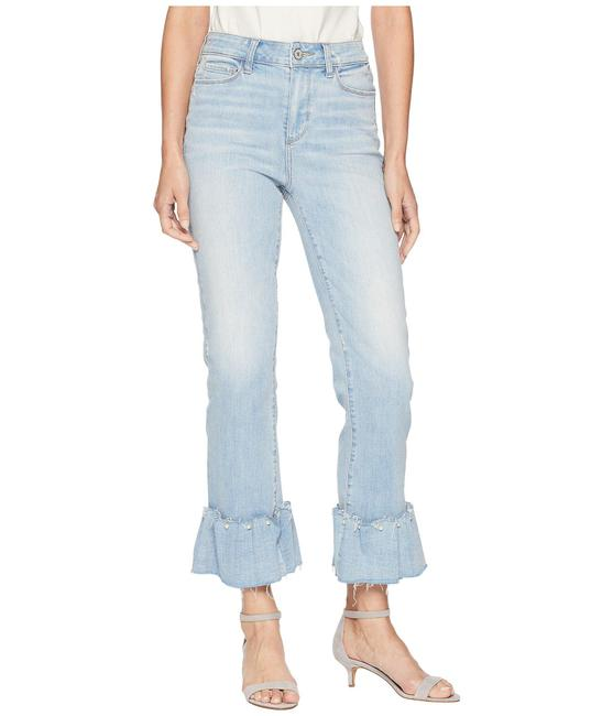 Item - Blue Light Wash Hoxton High-rise Ankle Straight Pearl Ruffle Flare Leg Jeans Size 31 (6, M)