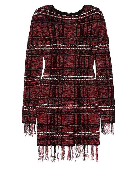 Item - Red Black White Tweed Material Product Code 4230358016407920 Mid-length Short Casual Dress Size 8 (M)