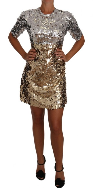 Item - Gold Silver Sequined Sheath Gown Mini G Short Casual Dress Size 12 (L)