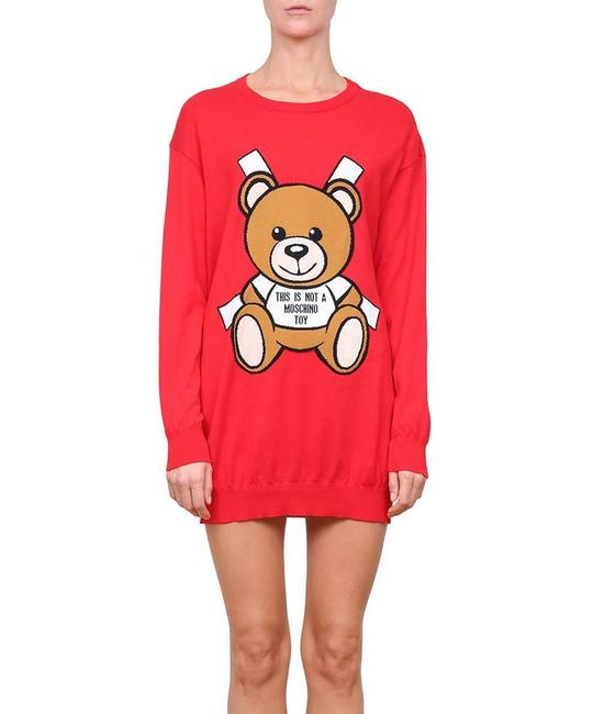 Item - Red Ss17 Teddy Bear Paper Doll Intarsia Short Casual Dress Size 4 (S)