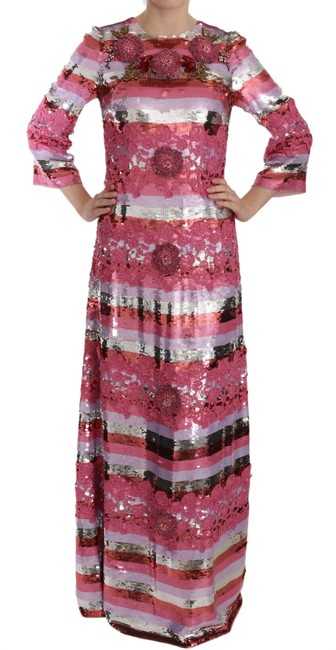 Item - Pink and Silver Floral Sequined Crystal Gown Dolce & Gabbana Long Casual Maxi Dress Size 12 (L)