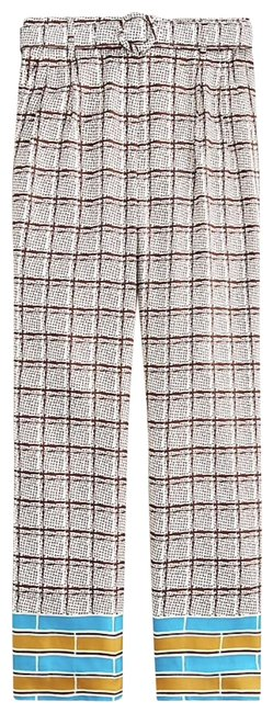 Item - Ivory Brown Blue High-rise Silk Trouser (Nwt) Pants Size 4 (S, 27)