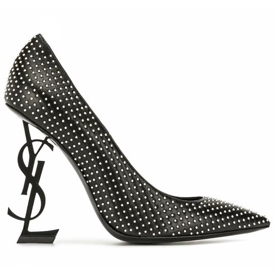 Preload https://img-static.tradesy.com/item/27981624/saint-laurent-black-opyum-110-ysl-logo-heel-leather-with-studs-pumps-size-eu-38-approx-us-8-regular-0-0-540-540.jpg