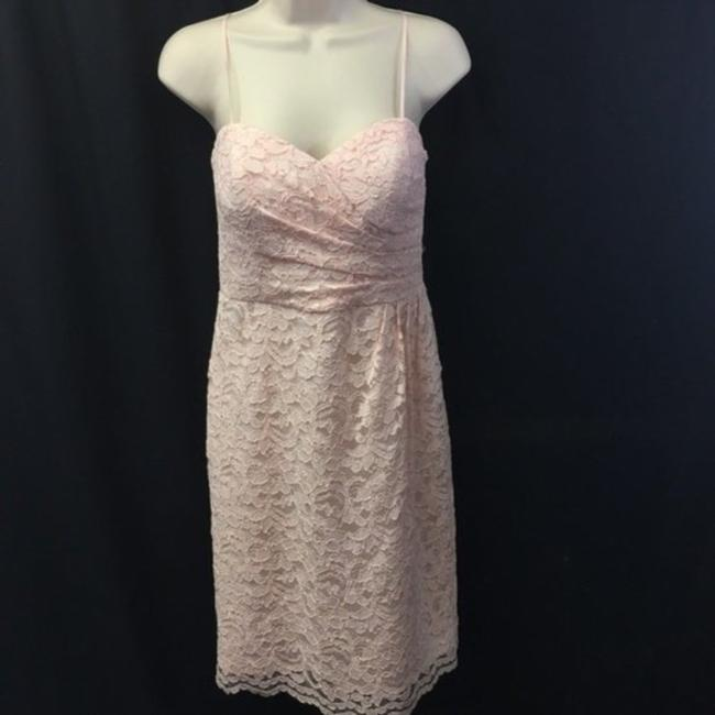 """Item - Pink Peach """"Petal"""" Lace Overlay Traditional Bridesmaid/Mob Dress Size 6 (S)"""