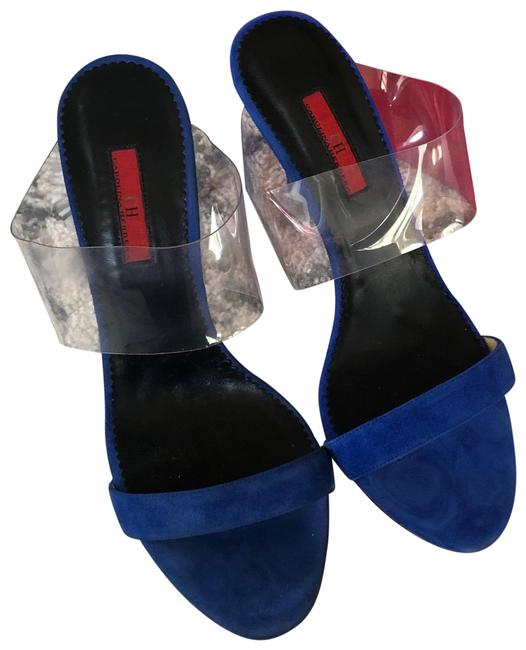 Item - Blue Suede Pvc Clear Strap Heeled Sandals Size EU 39 (Approx. US 9) Regular (M, B)