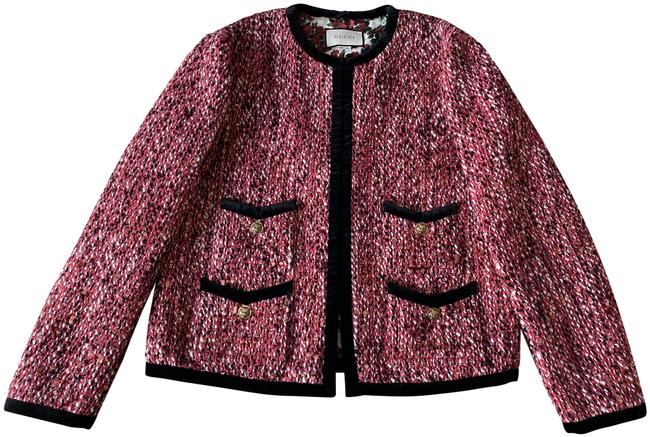 Item - Pink Sequin Beaded Tweed Feline Tiger Button Velvet Trim Jacket Size 10 (M)