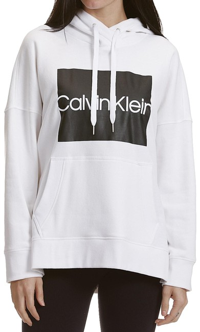 Item - White Performance Logo Fleece Lined Boxy Activewear Outerwear Size 10 (M)