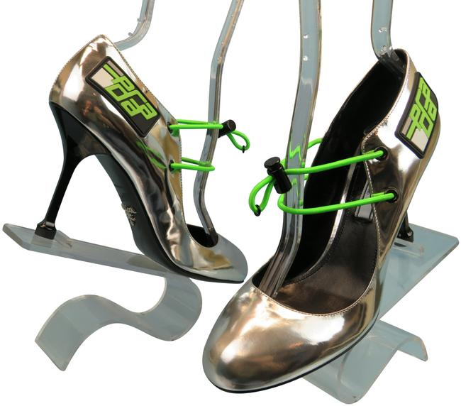 Item - Silver 1i127l Patent Leather Logo D'orsay 7 Italy Pumps Size EU 37.5 (Approx. US 7.5) Regular (M, B)