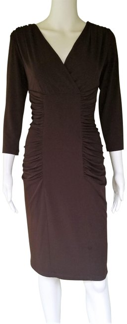 Item - Brown Slinky Ruched Mid-length Night Out Dress Size 6 (S)