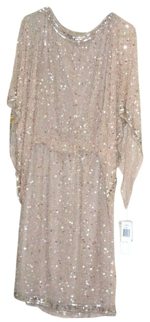 Item - Blush/Rose/Champagne Kimono Sleeves Blouson Sequin Beaded Above Knee Cocktail Dress Size 10 (M)