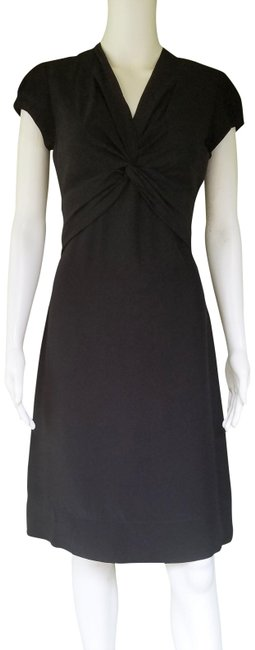 Item - Black Silk Twisted Front Mid-length Short Casual Dress Size 2 (XS)