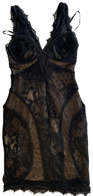 Item - Black Lace Overlay Mid-length Night Out Dress Size 4 (S)