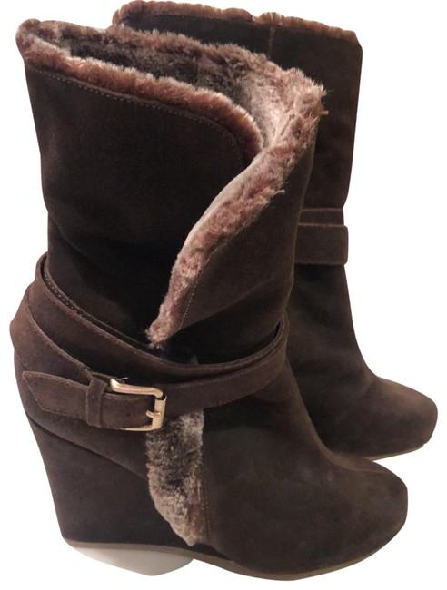 Item - Chocolate Brown/Taupe Lining Wedge Heel Boots/Booties Size US 6.5 Regular (M, B)